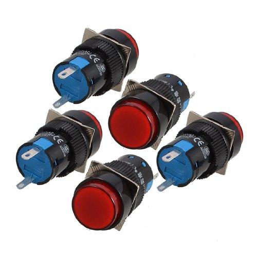 sourcing map 5 Pcs Rote Runde Kappe 2 Stifte Fehlersignal Lampe Indikator Licht DC 12V de DE (Pilot Lampe Rot)