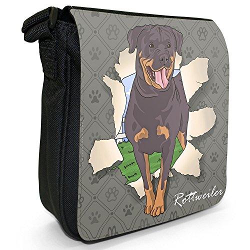Durchbruch-Hunde Kleine Schultertasche aus schwarzem Canvas Rottweiler bricht durch
