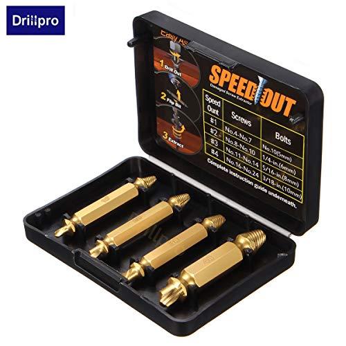 ChaRLes 4Pcs Doppel-Seitenbeschädigung Schraubenproktor Drill Bits Out Remover Bolt Puller (Puller Bolt)