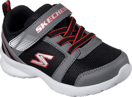 Skechers Skech Stepz Power Jump Large Toile Baskets Black-Grey-Red