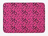 TKMSH Hair Salon Bath Mat, Beauty Salon Concept Hairdo Icons Vented Brush Combs Mirrors Scissors, Plush Bathroom Decor Mat with Non Slip Backing, Hot Pink and Black,15.7X23.6 inch/40 * 60cm