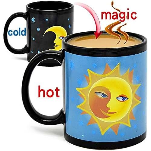figuras kawaii porcelana fria Una taza de café de color morphing favorito y único Taza de cambio de calor de cambio de color de calor Taza de cambio de taza de café sensible de porcelana mágica (Luna)