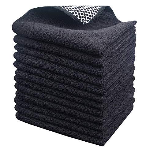 Microfasertuch Mikrofaser Putztuch Universaltuch Reinigungstuch - extrem saugstark und weich Spültuch Geschirrtucher - für Küchen,Badflächen ,Haushalt, Büro (schwarzx12, 30cmx30cm)