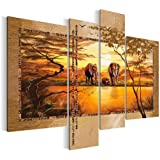 SENSATIONSPREIS !!! 0006461a Bilder auf Leinwand Wandbild Bild 120 x 90 cm, Afrika Elefanten Savanne Africa 4 Teile Wanddeko