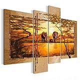 Bilder 120 x 90 cm - Afrika Bild - Vlies Leinwand - Kunstdrucke -Wandbild - XXL Format – mehrere Farben und Größen im Shop - Fertig zum Aufhängen – Orang Braun !!! 100% MADE IN GERMANY !!! - Savanne – Elefant 0006461a