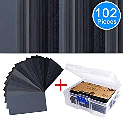 Sandpaper Assorted Wet/ Dry, 102 Pieces 60 to 3000 Grit Sandpaper Assortment, 3 x 5.5 Inch Abrasive Paper Sheet with Free Box, for Automotive Sanding, Wood Furniture Finishing