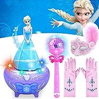 Aboygo 4 Piece Frozen Princess Aisha Rotating Sound and Light Music Box with Glow Stick Mask Gloves Girl Birthday Gift Pink