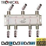 TronicXL Répartiteur TV 6 Voies BK Premium Adaptateur Répartiteur d'antenne TV TV Répartiteur DVBC zb pour Unitymedia