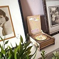 CANDLE in the BOX Sternenkinder | Trauerkerze in Holzbox mit Spruch | personalisiert mit Namen | Mond rosa | Gedenkkerze | Andenken
