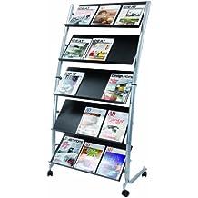 Alba - Expositor de revistas con 5 estantes (tamaño grande), color negro