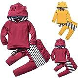 Borlai Baby-Outfit-Set, langärmelig, Kapuzenpullover und Hose, für 0-5 Jahre, 2 Stück Gr. 6-12 Monate, weinrot