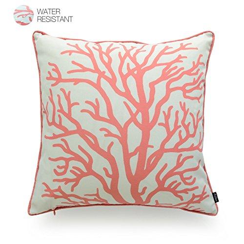 Hofdeco manta decorativa y funda de almohada Lumbar al aire libre resistente al agua lienzo Coral amor...