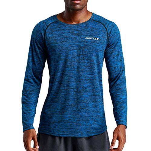 78124a29 SEWORLD Men's New Fitness Training Clothes Long Sleeve Blouse Outdoor  Sports Blouse Top Navy