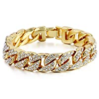 Summerwindy 14mm Mens Women Hip Hop Iced Out Curb Cuban Bracelet Chain Gold Pave