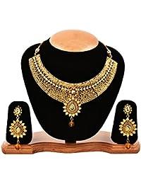 Zeneme Gold-Plated Choker Necklace, Drop Earring & Mangtika Set Jewellery For Women & Girls
