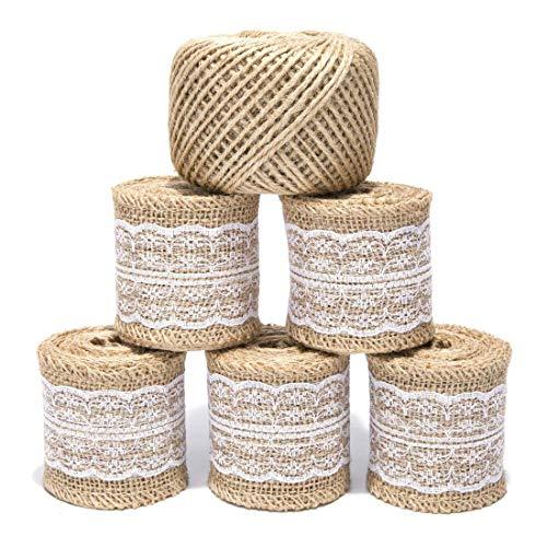 Tenlacum rotolo di nastro di iuta con pizzo bianco con elementi e 90meters di spago di iuta naturale tela di juta per rustico matrimonio decorazioni fai da te crafts iuta rotolo 2meters ogni ,5confezioni