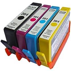 4 x Global Toners remplacement pour HP compatible 364XL Combo Pack Lot de cartouches d'encres - New Affiche levels- d'encre d'imprimante pour remplacer HP364 Cartouche d'encre (contient: 1 x Grand Noir, 1 x cyan, 1 x magenta, 1 x jaune) pour HP Photosmart 5510, 5511, 5512, 5514, 5515, 5520, 5522, 5524, 6510, 6512, 6515, 6520, 7515, B010 a, B109 a, B109d, B109 F, B109 N, B110 a, B110 C, B110e, HP Deskjet 3070 A, 3520, 3522, 3524, Officejet 4610, 4620