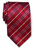 Retreez Tartan Check Styles Woven Microfiber Men's Tie Necktie - Burgundy