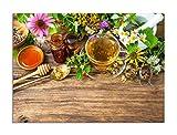 deinebilder24 Deko-Bilder - 40 x 60 cm - Tasse Kräutertee mit Wilden Blumen und Verschiedenen Kräutern
