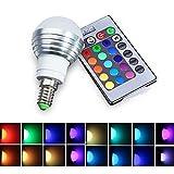 E14 RGB LED Lampe, Lifebee 5W E14 Glühlampen Dimmbar Glühbirne mit Fernbedienung, Farbwechsel Lampen, LED Birnen, LED Leuchtmittel (RGBW 5W E14) [Energieklasse A+]