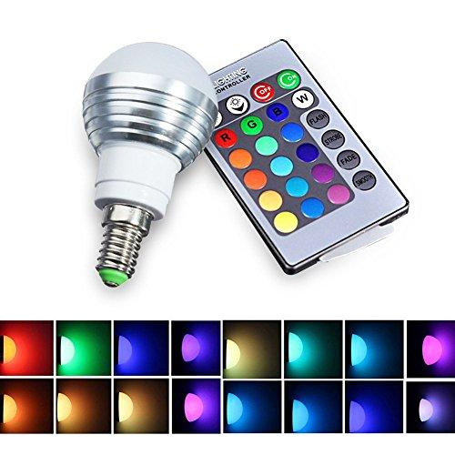LifeBee E14 5W RGB LED Lampe 16 Farbwechsel Dimmbar Licht mit 24 Key Fernsteuerung für Schlafzimmer