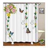 AnazoZ Duschvorhang Anti-Schimmel, Wasserdicht Vorhänge an Badewanne Antibakteriell, Bad Vorhang für Dusche 3D Blumen Schmetterling, 100% PEVA, inkl. 12 Duschvorhangringen 165 x 180 cm