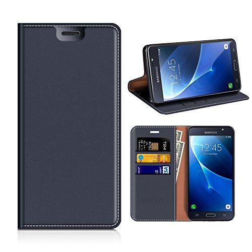 MOBESV Samsung Galaxy J5 2016 Hülle Leder, Samsung J5 2016 DUOS Tasche Lederhülle/Wallet Case/Ledertasche Handyhülle/Schutzhülle mit Kartenfach für Samsung J510 Galaxy J5 2016 - Dunkel Blau