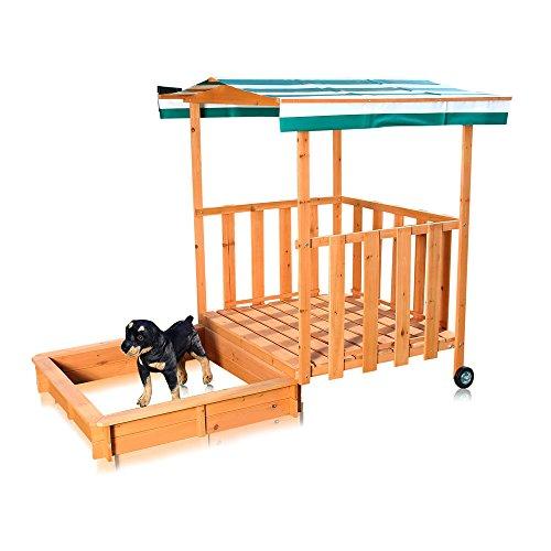 Melko Sandkasten mit Spielveranda, Abdeckung und Sonnenschutz für Kinder, aus Holz, 182 x 100 x 140, Sandbox mit Geländer, Dach grün weiß