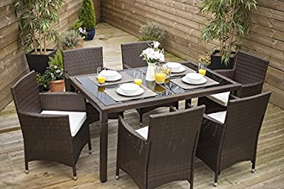 Rectangle Rattan Dining Table with 6 Chair Furniture Set, Indoor and Outdoor Use - inexpensive UK dining table store.