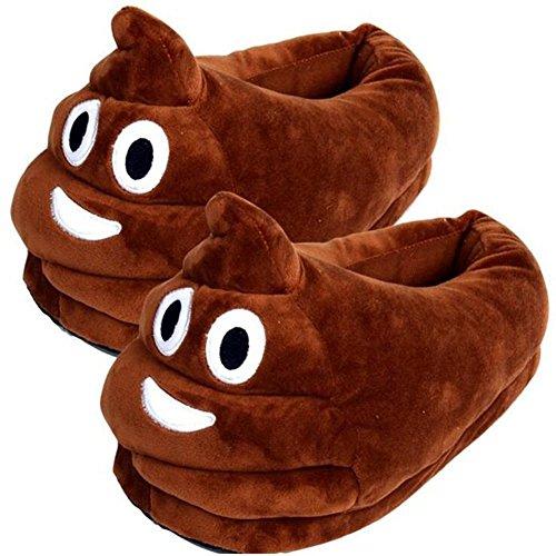 Emoji pantofole, unisex del fumetto caldo accogliente scarpe invernali morbidi, peluche sveglia Indoor pantofole, formato libero (Smiley Poop)