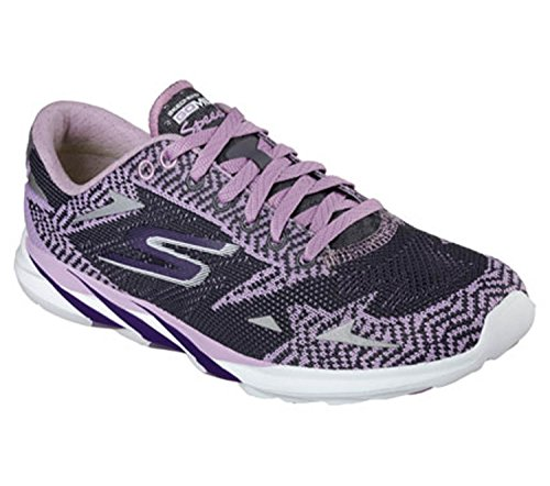 Skechers Go MEB Speed 32016, Chaussures Basses pour Femme Sneakers - Multicolore - Violet/Gris Anthracite,