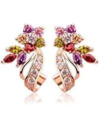 Jewels Galaxy Sylish Cubic Zirconia Rose Gold Plated Elegant Drop Earrings For Women/Girls