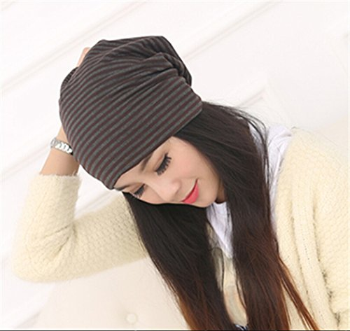 Fascigirl Beanie Hat Hat Respirant Bande Rayures Turban pour Les Femmes Coffee
