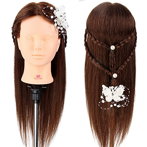Training Head, Neverland Professional 22 Inch Long Hair 80% Real Hair Cosmetology Mannequin Training Head with Clamp for Students Practing Makeup/Hairdressing Test