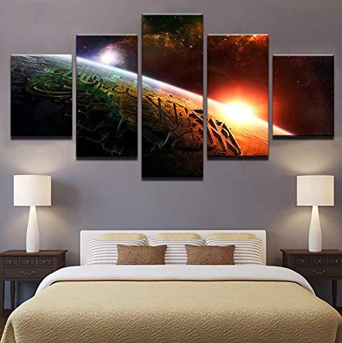 QThxqa Leinwand Wandkunst HD gedruckt Poster Rahmen 5 Stück Manhattan New York Wolkenkratzer Stadtbild Malerei Home Dekoration Bilder -