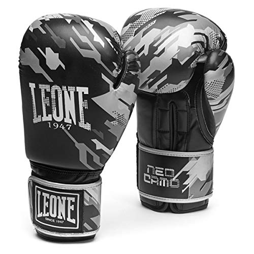 Leone 1947 Boxing Gloves NEO CAMO Leather MMA UFC Muay Thai Kick Boxing K1  Karate Training Sparring Punching Gloves (Gray Camo, 16 oz)