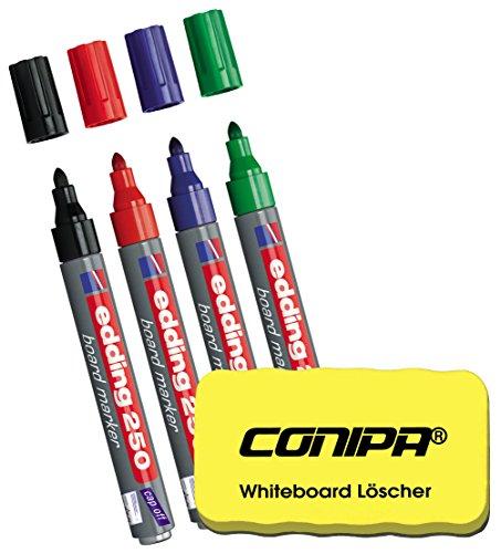 Edding 250 Whiteboard Marker mit Rundspitze, 1,5 - 3mm, geruchsarme Tinte (4 Grundfarben + gelber Löscher) (Tinte Shop)
