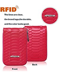 Aphison Womens Genuine Leather Rfid Blocking Secure Spacious Zipper Credit Card Wallet Small Purse (Red)