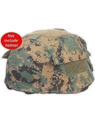MICH 2002(Ver2Gamuza de funda para casco de combate con bolsillo trasero 6colores de velcro para táctico militar de Airsoft Paintball Caza (Digital Woodland, en FG, camuflaje, AOR2, ACU, Sandstorm Camo), Digital Woodland
