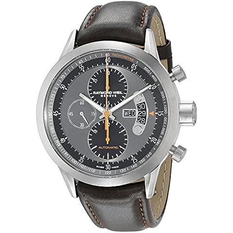 Raymond Weil Freelancer-Orologio cronografo da uomo in pelle, chiusura automatica, 05609 7745-TIC