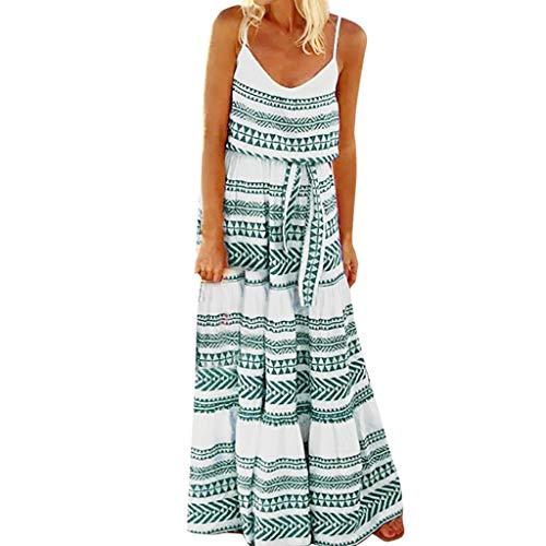 MAYOGO Kleid Damen Sommer Lang Große Größen Boho Gestreift Spagettiträger Maxikleid Rückenfrei Sexy Urlaub Casual Sommerkleid