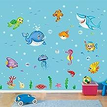 S.Twl.E Habitaciones infantiles están decoradas al estilo Mediterráneo Paredes Dormitorio Vinilos adhesivos Cartoon Delfín Azul carteles extraíble, feliz, grandes peces
