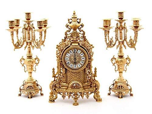 Triptychon Uhr Barock Messing glänzend mit Kerzenständer Französisch-Spielekonsole