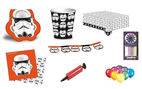 Star Wars Stormtrooper Party Geschirr Kindergeburtstag Party Supplies Tassen Teller Tischdecke Servietten Banner für 16 Gäste Kostenlose Luftballons Pumpe und Kerzen Mit diesem Paket zur Verfügung gestellt