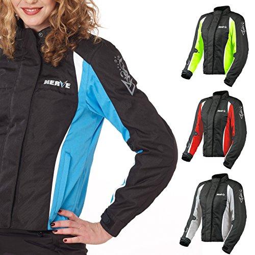 Motorradjacke -Unique-Motorrad Damen Wasserdicht Jacke mit Protektoren Sommer Winter Textil Frauen - schwarz-blau - 46