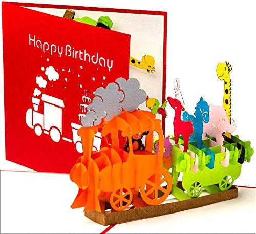 3D Geburtstagskarte - Dampflok mit Tieren, Eisenbahn für Kinder - Pop up Karte, Glückwunschkarte Geburtstag, Grußkarte, Geschenkkarte, Happy Birthday Card, Geburtstagskarten