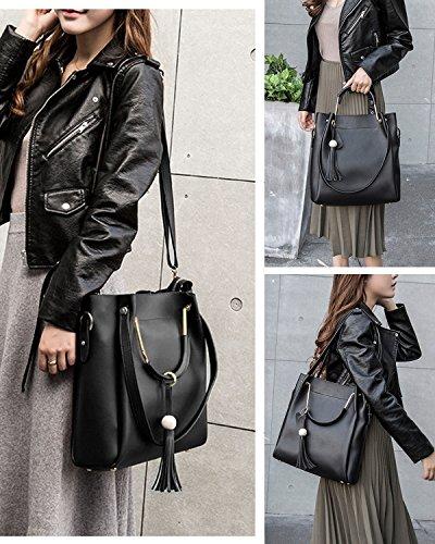 S-ZONE Borse a tracolla con borchie a tracolla in vera borsa con borse a tracolla in vera borsa a tracolla Nero