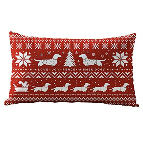 Kissenbezüge,Weihnachten Kissenbezug Rechteck OHQ Dekorative Leinen Mischung Sofa Auto Kissenbezug Wohnkultur (E) (Zelda Prima Sammlung)