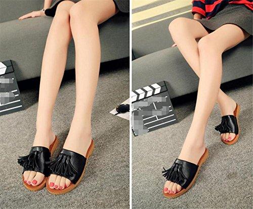 LDMB Sommer Quaste Sandalen flache Art und Weise beiläufige Frauen Hausschuhe Black