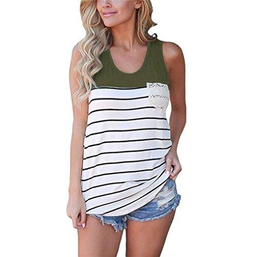 Damen Tops VEMOW Frauen Mode Streifen Patchwork Spitze Tasche ärmellose Tank (Flanell Henley Shirt Top)